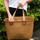 橢圓形海草購物籃 日系文藝手提袋 古時候女子買菜籃子拍戲用道具wl5187