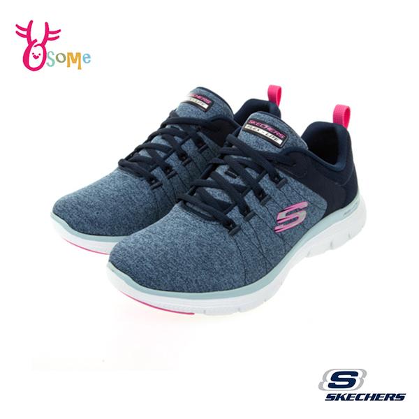 Skechers運動鞋 女鞋 防水鞋面 FLEX APPEAL 4.0 寬楦款 慢跑鞋 跑步鞋 記憶鞋墊 輕量避震 W8218#藍桃