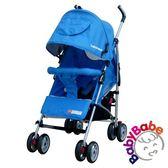 。全罩式、加寬超大座位空間。A0752【BabyBabe】加寬全罩平躺傘車-藍