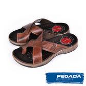 【PEGADA】巴西名品真皮休閒涼拖鞋  深咖啡(132205-DBR)