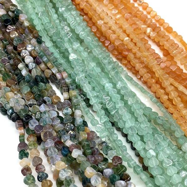 天然印度瑪瑙小桃心綠東陵紅東陵心形穿孔散珠半成品