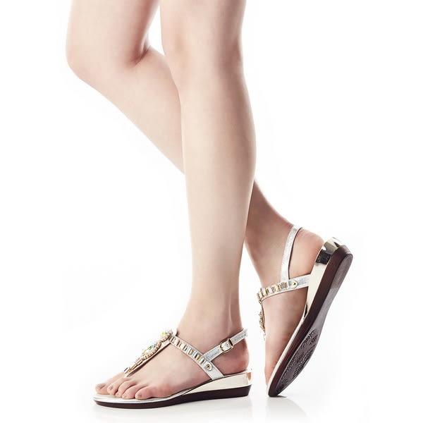 ★零碼出清★Keeley Ann艷夏滿鑽方塊寶石後繫帶T形夾腳涼拖鞋(銀色)