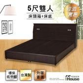 IHouse-經濟型房間組二件(床頭箱+床底)-雙人5尺胡桃