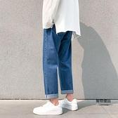 水洗牛仔褲男夏天薄款休閒九分褲學生百搭寬鬆直筒褲子【聚物優品】