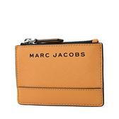 美國正品 MARC JACOBS 黑色LOGO防刮皮革證件/鑰匙零錢包-熱帶橙【現貨】
