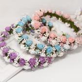 頭飾 韓式超仙拍照新娘伴娘花環頭飾兒童公主表演海邊度假泡沫花