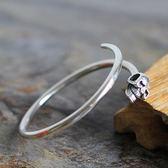 手環 925純銀-個性光面骷髏頭開口生日聖誕節禮物男女手鐲73na62【時尚巴黎】