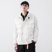 休閒夾克-立領純棉多口袋寬鬆純色男外套3色73zm8【巴黎精品】