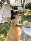 短袖連身裙女童夏裝連身裙學院風兒童純色海軍風短袖裙子寶寶時髦公主裙 小天使