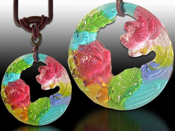 鹿港窯~居家開運水晶琉璃項鍊~荷香蓮花 ◆免運費送到家