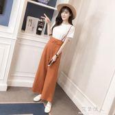 夏季背帶闊腳褲女新款韓版時尚夏天矮個子高腰女神范褲子套裝 完美情人精品館