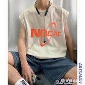 男生背心 @港仔文藝男 無袖t恤男潮流韓版寬鬆潮牌外穿ins個性坎肩籃球背心 7月熱賣