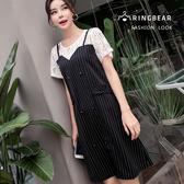 氣質洋裝--氣質優雅空花蕾絲細肩帶桃心領條紋假兩件短袖洋裝(黑M-3L)-D431眼圈熊中大尺碼