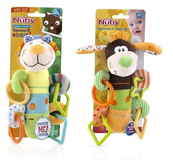 代購 美國 NUBY 絨毛棉布多功能玩具固齒器 可愛動物按壓有聲玩具 繽紛色彩軟硬適中【彤彤小舖】
