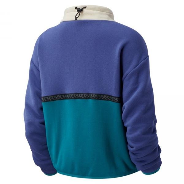 NEW BALANCE 長T 綠紫 米白 拼接 棉 立領 半拉鍊 休閒上衣 女 (布魯克林) AWT03529MBL