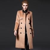毛呢大衣-長版英倫風修身雙排釦女風衣外套73ir36【時尚巴黎】