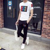 春男士短袖T恤韓版時尚休閒套裝修身半袖運動一套衣服潮流夏季【PINKQ】