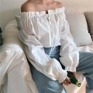 【限時下殺89折】露肩上衣  港味迷你復古系帶一字領露肩套頭上衣女裝百搭寬鬆木耳邊長袖襯衫