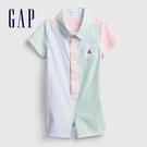 Gap嬰兒 小熊刺繡襯衫式包屁衣 663312-多色拼接