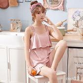 清新薄款睡衣 女夏棉質吊帶無袖全棉兩件套裝韓版寬鬆家居服 BT8437【Sweet家居】