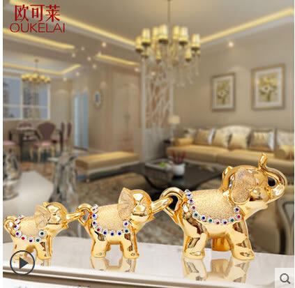 結婚禮物歐式現代陶瓷大象家居裝飾品工藝品客廳電視櫃新房象擺件