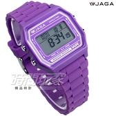 JAGA捷卡 保證防水可游泳 夜間冷光 多功能輕巧休閒運動電子錶 中性錶 M1103-J(紫)