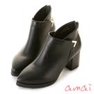 amai側交叉金屬裝飾粗跟短靴 黑