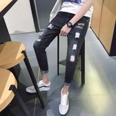 男牛仔褲窄管褲 小腳男裝破洞九分褲韓版潮流男褲《印象精品》t778