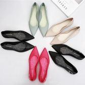 尖頭果凍鞋女單鞋淺口雨鞋防水鞋