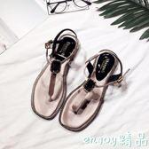 韓版時尚夾腳平底涼鞋 新款低跟平跟涼鞋