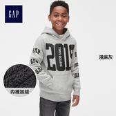 Gap男童 Logo直筒連帽長袖休閒上衣 399758-淺麻灰