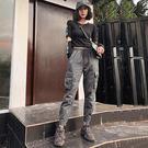 法式工裝褲女夏國潮直筒寬鬆束腳運動褲帥氣顯瘦小腳嘻哈褲