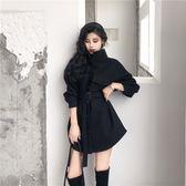 韓版寬鬆中長款毛呢外套女秋裝2018新款學生立領收腰黑色呢子大衣 初見居家