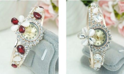 [協貿國際]鍍玫瑰金鑲貓眼石花朵手錶手鐲