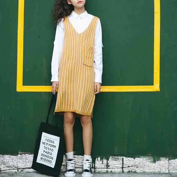 新款針織毛衣直條口袋顯瘦吊帶背心裙  (土黃 酒紅)二色售   (M8FW)