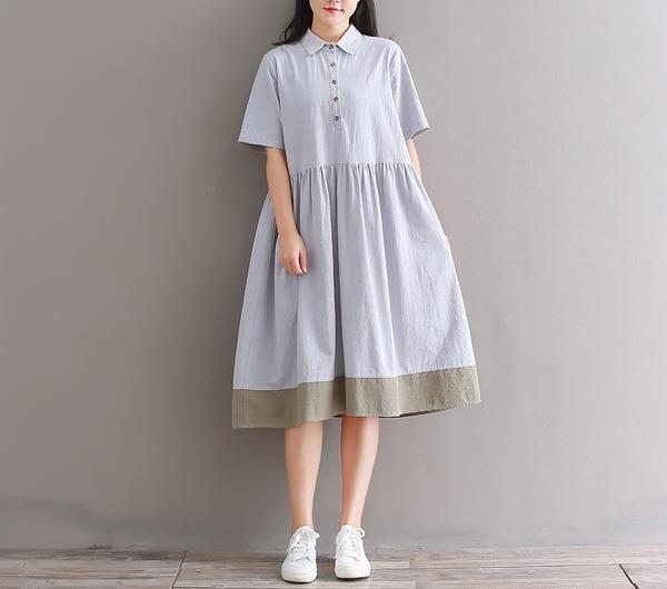 東京奈奈日系森林系翻領短袖拼接寬鬆棉麻洋裝[j92601]