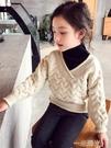 春秋冬新款 女童毛衣高領針織衫兒童假兩件洋氣童裝包芯紗 一米陽光