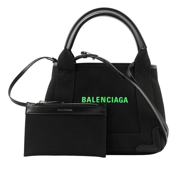 【BALENCIAGA】NAVY CABAS帆布二用包/子母包(黑色/螢光綠) XS 390346 2HH7N 1063