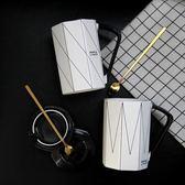 北歐情侶創意咖啡水杯帶蓋勺陶瓷大容量  LQ5031『夢幻家居』