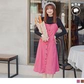 《DA7956》高含棉.可調細肩帶高腰剪裁排釦洋裝 OrangeBear