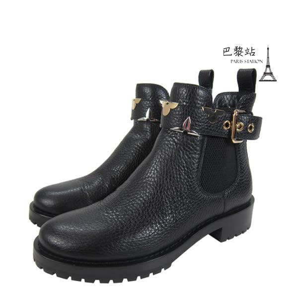 【巴黎站二手名牌專賣店】*現貨*Louis Vuitton LV 真品*黑色皮革金屬花紋釦平底短靴(36號)
