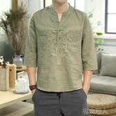 中國風亞麻短袖t恤男夏季棉麻潮五分袖男裝刺繡唐裝寬鬆大碼半袖 布衣潮人