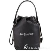 YSL Saint Laurent TEDDY 小羊皮束口水桶包(黑色) 1910097-01