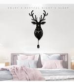 掛鐘北歐鹿頭鐘表掛鐘客廳家用創意時尚個性掛表現代大氣裝飾靜音時鐘YTL