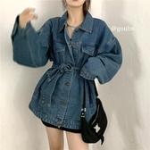 2020年新款早秋設計感小眾中長款綁帶牛仔上衣女寬鬆韓版長袖外套 初秋新品