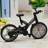 創意自行車電子鬧鐘學生兒童可愛小鬧鐘書房臥室擺設座鐘台鐘WY 【萬聖節促銷】