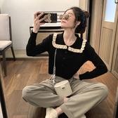 娃娃領上衣 法式短款polo翻領內搭修身長袖毛衣女針織衫秋冬打底衫小個子上衣 韓國時尚週