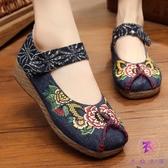 北京繡花鞋 繡花圖案鞋 民族風布鞋坡跟厚底牛筋底舞鞋女