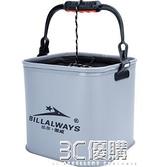 釣魚桶 摺疊EVA加厚活魚桶活魚箱帶繩小水桶 3C優購HM