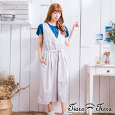【Tiara Tiara】激安 寬版無袖綁腰吊帶長褲裙(灰)